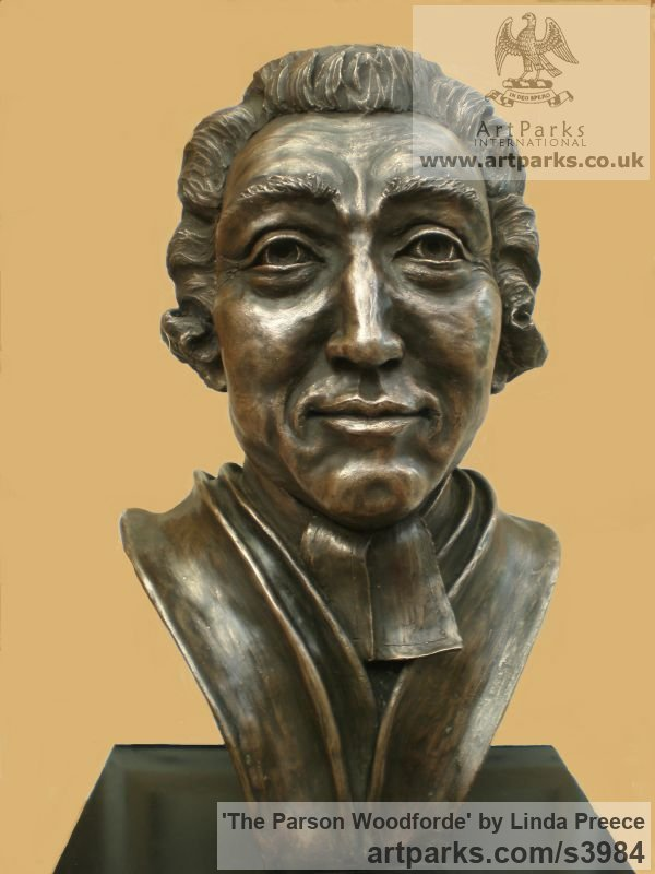 Bronze resin. (available as foundry bronze poa) Portrait Sculptures / Commission or Bespoke or Customised sculpture by artist Linda Preece titled: 'The Parson Woodforde (Portrait Head Bust Face sculpture statue)'
