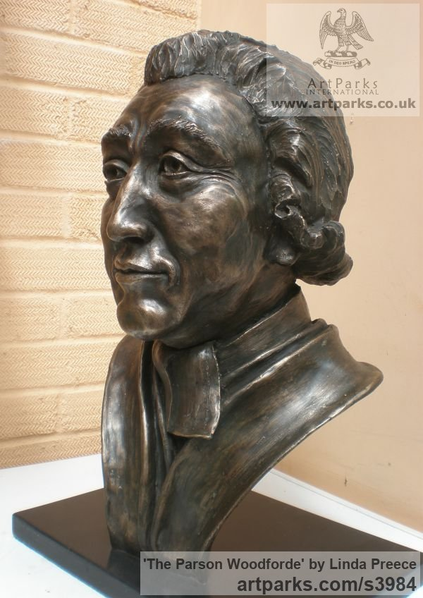Bronze resin. (available as foundry bronze poa) Portrait Sculptures / Commission or Bespoke or Customised sculpture by artist Linda Preece titled: 'The Parson Woodforde (Portrait Head Bust Face sculpture statue)' - Artwork View 2