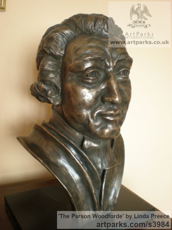 Bronze resin. (available as foundry bronze poa) Portrait Sculptures / Commission or Bespoke or Customised sculpture by artist Linda Preece titled: 'The Parson Woodforde (Portrait Head Bust Face sculpture statue)' - Artwork View 3