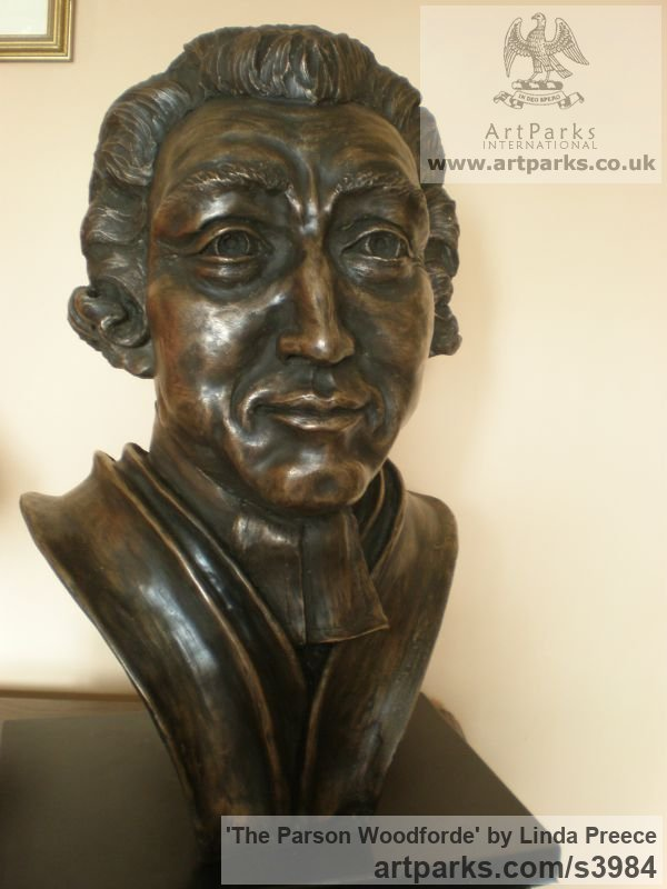 Bronze resin. (available as foundry bronze poa) Portrait Sculptures / Commission or Bespoke or Customised sculpture by artist Linda Preece titled: 'The Parson Woodforde (Portrait Head Bust Face sculpture statue)' - Artwork View 4