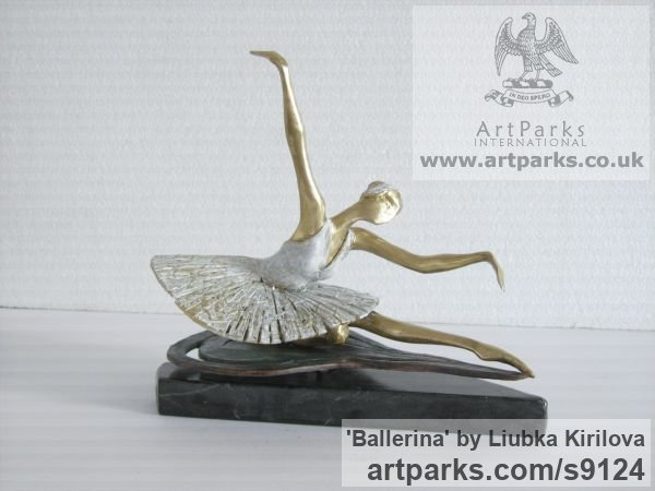 Bronze Tabletop Desktop Small Indoor Statuettes Figurines sculpture by sculptor Liubka Kirilova titled: 'Ballerina (female Ballet Dancer statuette statues)' - Artwork View 1