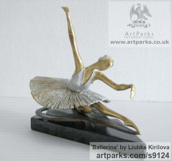 Bronze Tabletop Desktop Small Indoor Statuettes Figurines sculpture by sculptor Liubka Kirilova titled: 'Ballerina (female Ballet Dancer statuette statues)' - Artwork View 3