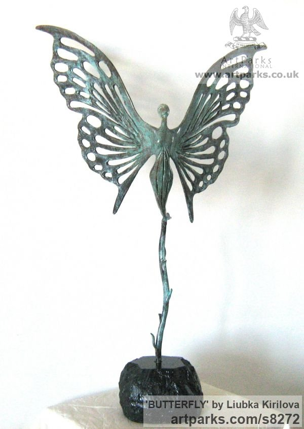 Bronze Insect Sculptures, to include Bees, Ants, Moths, Butterflies etc sculpture by sculptor Liubka Kirilova titled: 'BUTTERFLY (abstract Butterfly Ballerina statuette)' - Artwork View 1