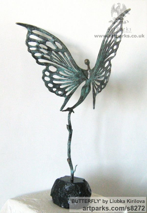 Bronze Insect Sculptures, to include Bees, Ants, Moths, Butterflies etc sculpture by sculptor Liubka Kirilova titled: 'BUTTERFLY (abstract Butterfly Ballerina statuette)' - Artwork View 4