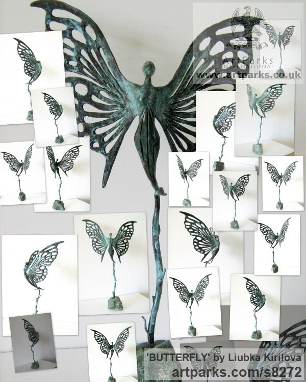 Bronze Insect Sculptures, to include Bees, Ants, Moths, Butterflies etc sculpture by sculptor Liubka Kirilova titled: 'BUTTERFLY (abstract Butterfly Ballerina statuette)' - Artwork View 5