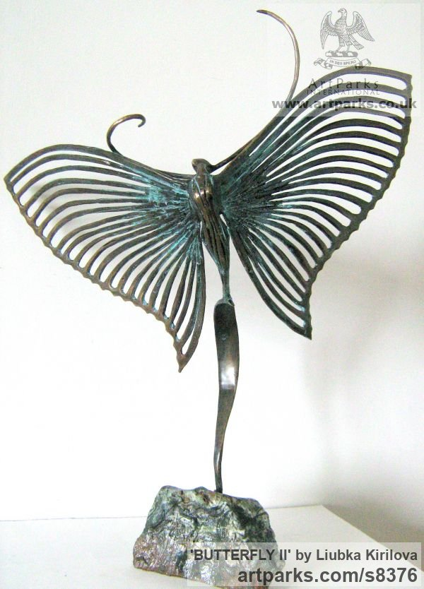 Bronze Insect Sculptures, to include Bees, Ants, Moths, Butterflies etc sculpture by sculptor Liubka Kirilova titled: 'BUTTERFLY II (Contemporary abstract Butterfly statue)'