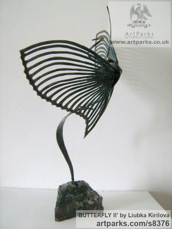 Bronze Insect Sculptures, to include Bees, Ants, Moths, Butterflies etc sculpture by sculptor Liubka Kirilova titled: 'BUTTERFLY II (Contemporary abstract Butterfly statue)' - Artwork View 2