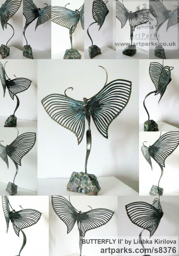 Bronze Insect Sculptures, to include Bees, Ants, Moths, Butterflies etc sculpture by sculptor Liubka Kirilova titled: 'BUTTERFLY II (Contemporary abstract Butterfly statue)' - Artwork View 3