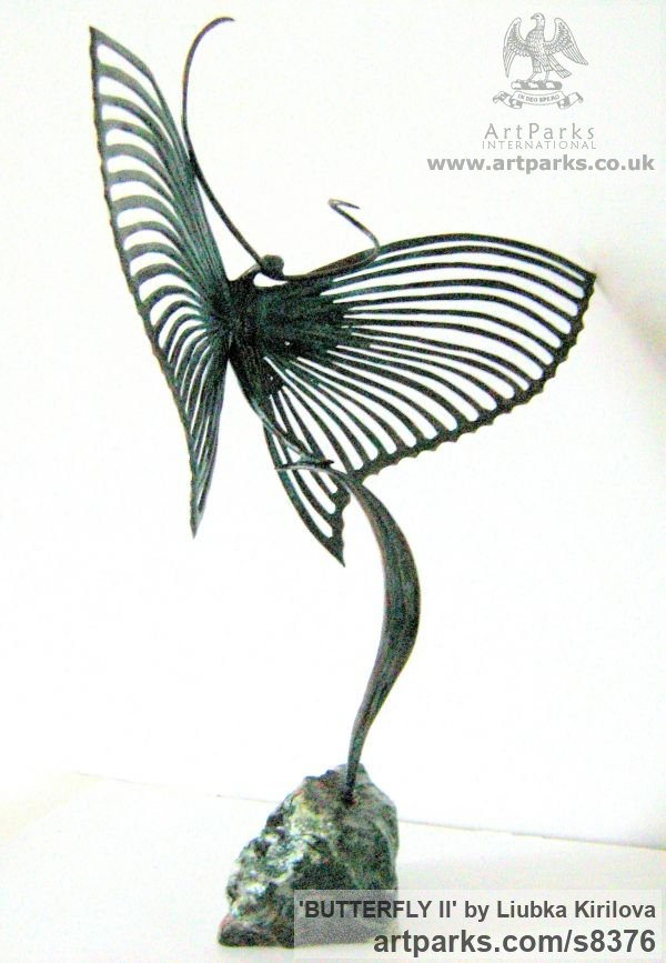 Bronze Insect Sculptures, to include Bees, Ants, Moths, Butterflies etc sculpture by sculptor Liubka Kirilova titled: 'BUTTERFLY II (Contemporary abstract Butterfly statue)' - Artwork View 4