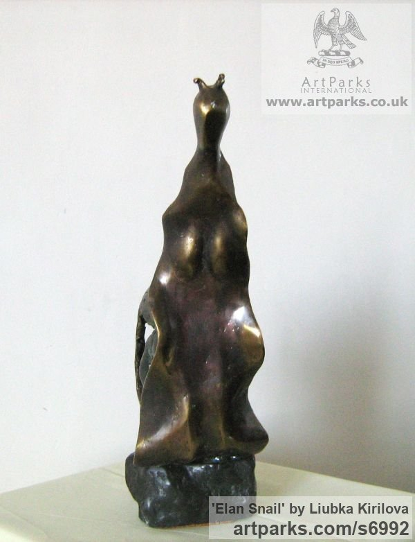 Bronze Animal Abstract Contemporary Modern Stylised Minimalist sculpture by sculptor Liubka Kirilova titled: 'Elan Snail (Outsize Bronze Indoor/Outside statuette)' - Artwork View 3