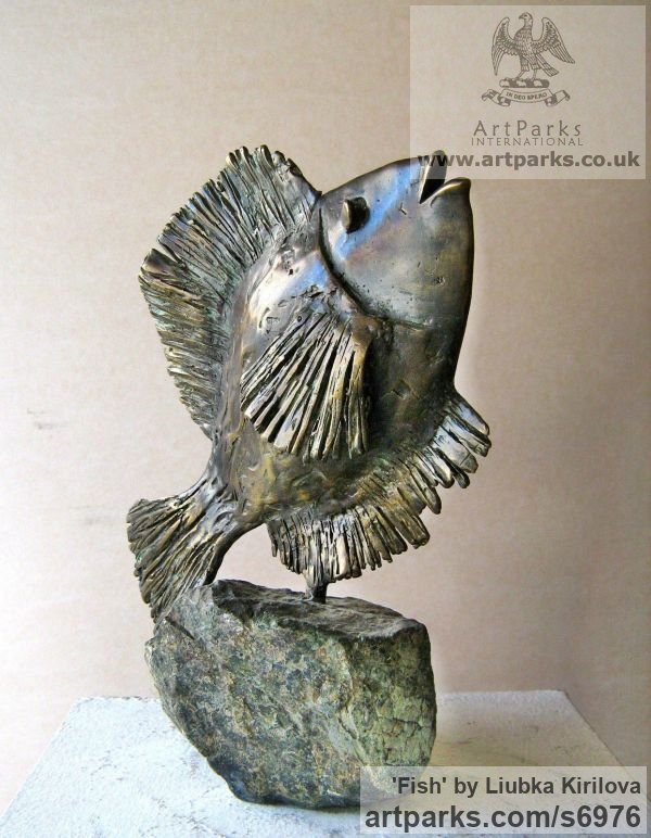 Bronze, stone Marine Maritime Water Sea sculpture statuette sculpture by sculptor Liubka Kirilova titled: 'Fish (Little Contemporary Happy Singing Fish statue)'