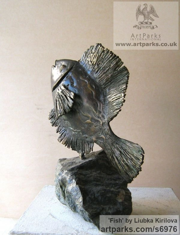 Bronze, stone Marine Maritime Water Sea sculpture statuette sculpture by sculptor Liubka Kirilova titled: 'Fish (Little Contemporary Happy Singing Fish statue)' - Artwork View 2