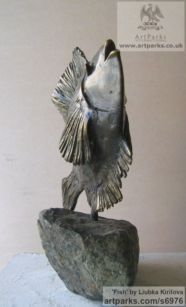 Bronze, stone Marine Maritime Water Sea sculpture statuette sculpture by sculptor Liubka Kirilova titled: 'Fish (Little Contemporary Happy Singing Fish statue)' - Artwork View 3
