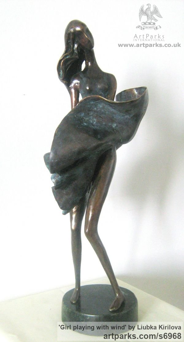 Bronze Tabletop Desktop Small Indoor Statuettes Figurines sculpture by sculptor Liubka Kirilova titled: 'Girl playing with wind (Bronze Young Lady 7 Swirling Skirt statuette)'
