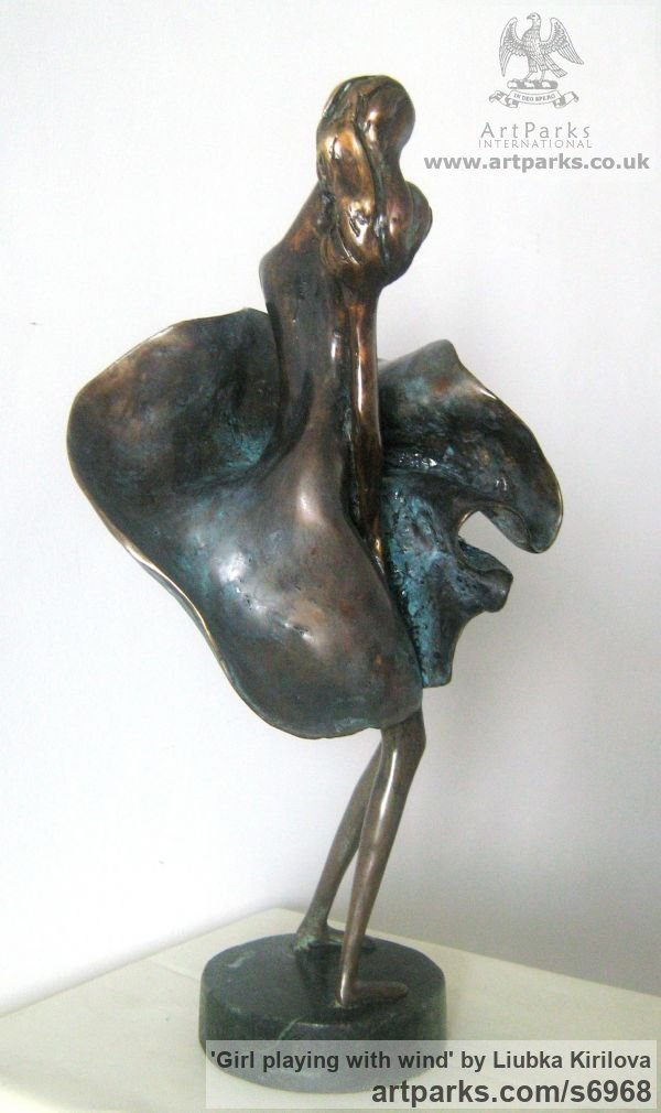 Bronze Tabletop Desktop Small Indoor Statuettes Figurines sculpture by sculptor Liubka Kirilova titled: 'Girl playing with wind (bronze Young Lady 7 Swirling Skirt statuette)' - Artwork View 3