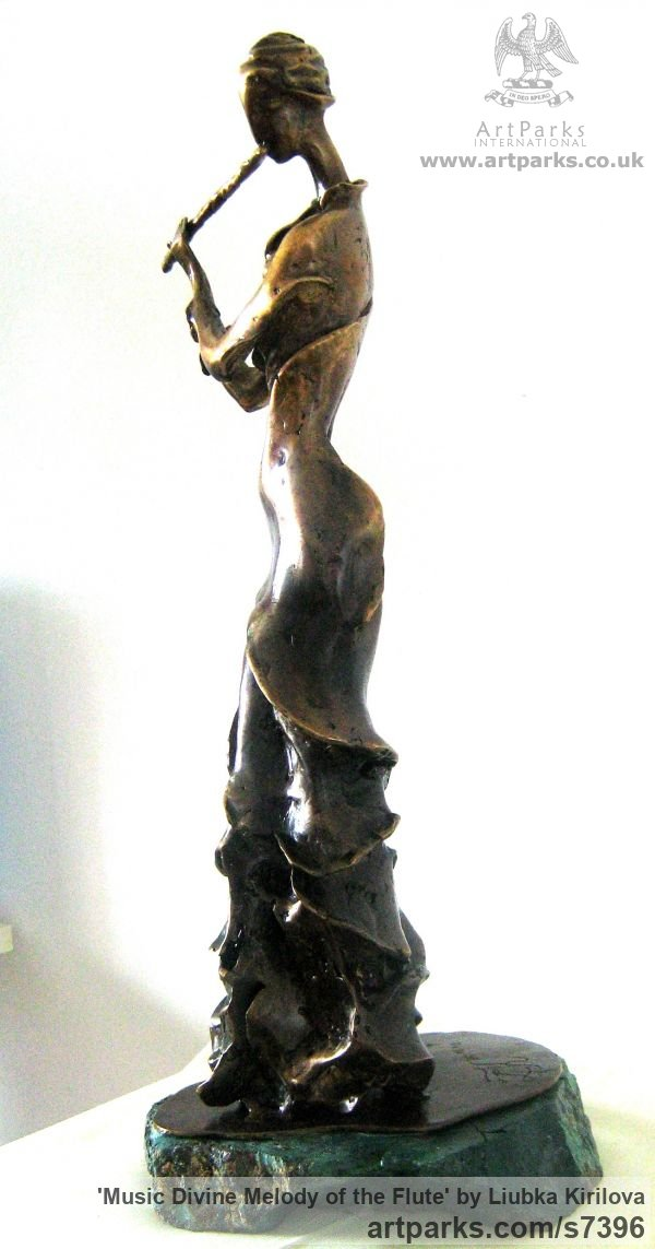 Bronze Wind Musical Instruments Musicians or Players and Composers sculpture statuette sculpture by sculptor Liubka Kirilova titled: 'Music Divine melody of the Flute (Stylised Flotist statue)' - Artwork View 3