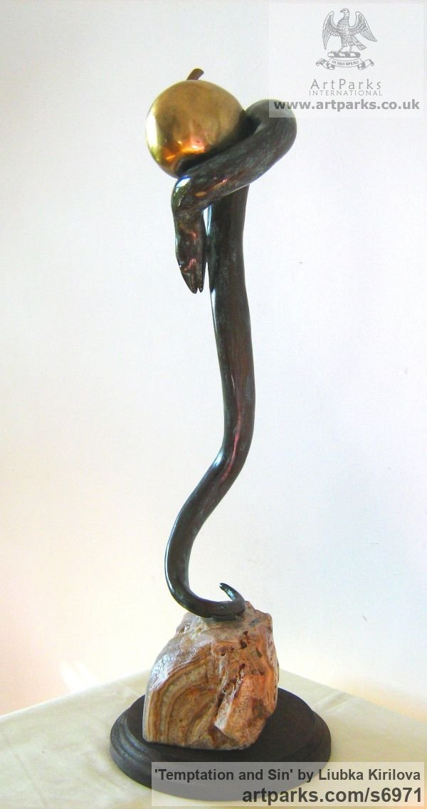Bronze Interior, Indoors, Inside sculpture by sculptor Liubka Kirilova titled: 'Temptation and Sin (Bronze Serpent and Fruit/Snake and Apple statue)' - Artwork View 5