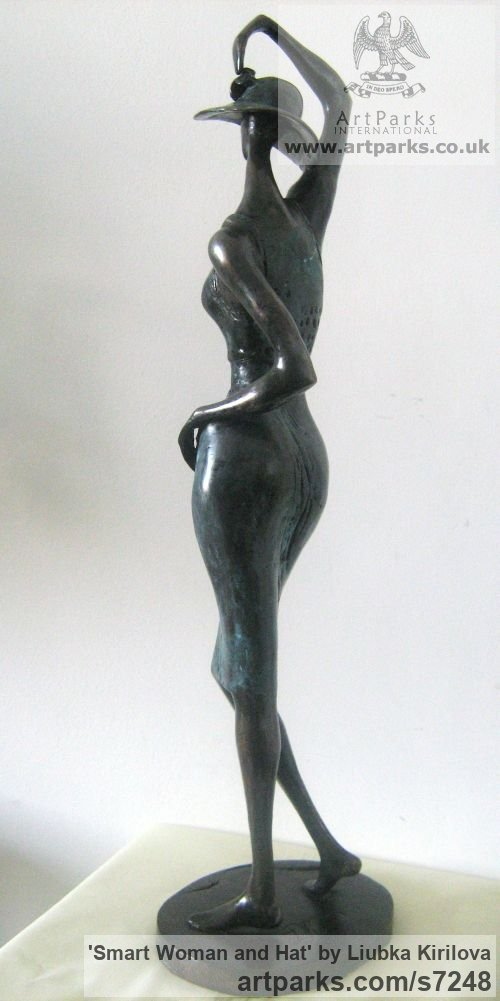 Bronze Fashion Sculptures Catwalk Models fashion Garments fashionable women or people sculpture by sculptor Liubka Kirilova titled: 'Smart Woman and Hat (Slim Contemporary Girl statue)' - Artwork View 2