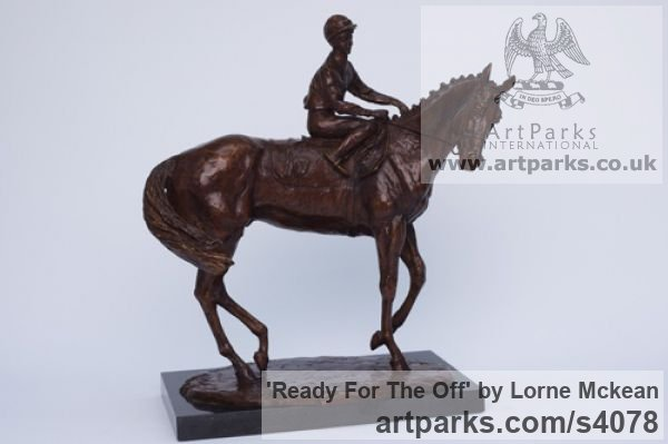 Bronze Horse Sculpture / Equines Race Horses Pack HorseCart Horses Plough Horsess sculpture by sculptor Lorne Mckean titled: 'Ready for the Off (bronze Horse and Jockey statuettes)'