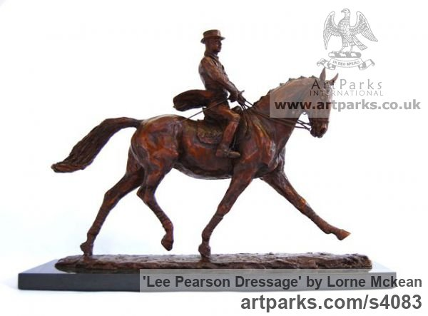 Bronze Horse Sculpture / Equines Race Horses Pack HorseCart Horses Plough Horsess sculpture by sculptor Lorne Mckean titled: 'Lee Pearson Dressage (Small bronze Horse statuettes)' - Artwork View 1