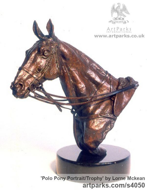 Bronze Horse Sculpture / Equines Race Horses Pack HorseCart Horses Plough Horsess sculpture by sculptor Lorne Mckean titled: 'Polo Pony Portrait/Trophy (bronze Head sculptures)' - Artwork View 1