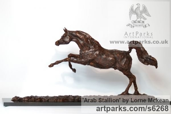 Foundry Bronze Horse Sculpture / Equines Race Horses Pack HorseCart Horses Plough Horsess sculpture by sculptor Lorne Mckean titled: 'Arab Stallion (Om El Bahreyn Small Prancing Bronze statuette/sculpture)' - Artwork View 3