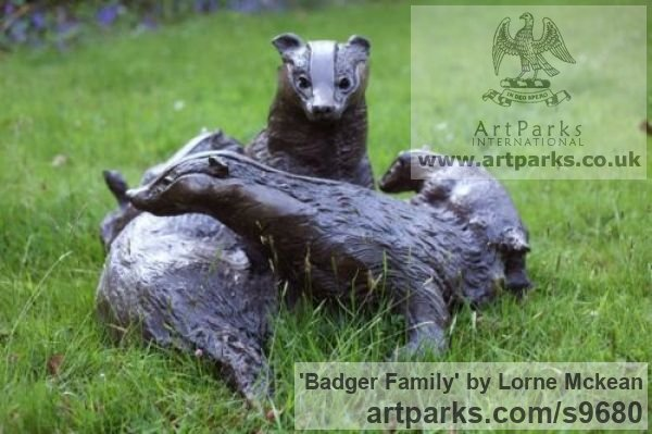 Bronze Wild Animals and Wild Life sculpture by sculptor Lorne Mckean titled: 'Badger Family in Bronze (Bronze life size Badger Family statue)'