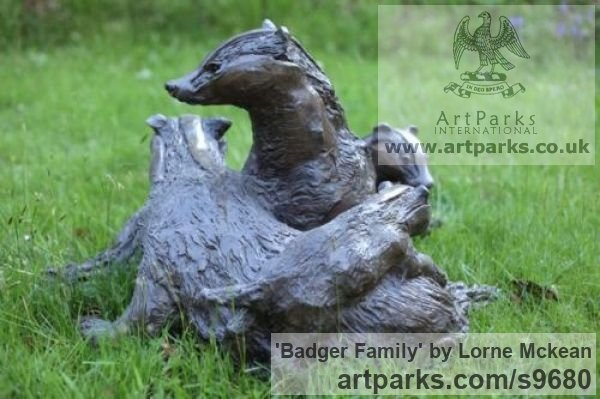 Bronze Wild Animals and Wild Life sculpture by sculptor Lorne Mckean titled: 'Badger Family in Bronze (Bronze life size Badger Family statue)' - Artwork View 2