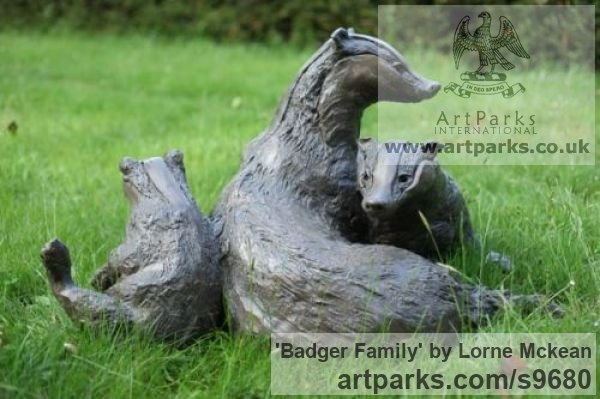 Bronze Wild Animals and Wild Life sculpture by sculptor Lorne Mckean titled: 'Badger Family in Bronze (Bronze life size Badger Family statue)' - Artwork View 3