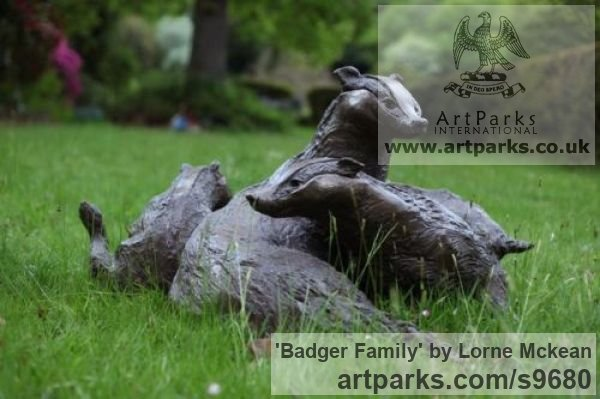 Bronze Wild Animals and Wild Life sculpture by sculptor Lorne Mckean titled: 'Badger Family in Bronze (Bronze life size Badger Family statue)' - Artwork View 4