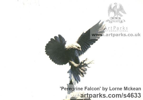 Bronze Field Sports, Game Birds and Game Animals sculpture by sculptor Lorne Mckean titled: 'Peregrine Falcon (In Flight bronze Stooping Flying statuette statue)' - Artwork View 2