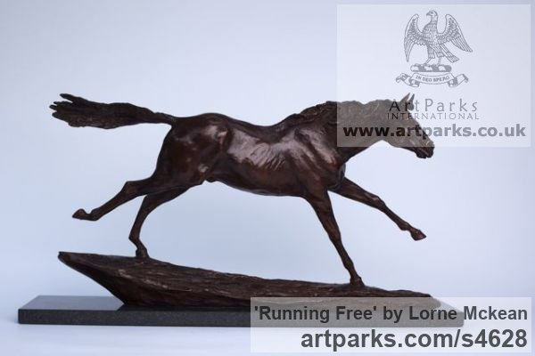 Bronze Horse Sculpture / Equines Race Horses Pack HorseCart Horses Plough Horsess sculpture by sculptor Lorne Mckean titled: 'Running Free (Small bronze Horse/Equine sculptures)' - Artwork View 1