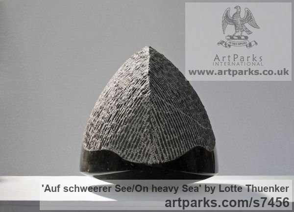 Limestone belgium petit granit Tabletop Desktop Small Indoor Statuettes Figurines sculpture by sculptor Lotte Thuenker titled: 'Auf schweerer See - On heavy Sea' - Artwork View 2