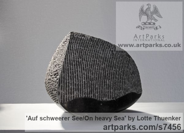 Limestone belgium petit granit Tabletop Desktop Small Indoor Statuettes Figurines sculpture by sculptor Lotte Thuenker titled: 'Auf schweerer See - On heavy Sea' - Artwork View 3