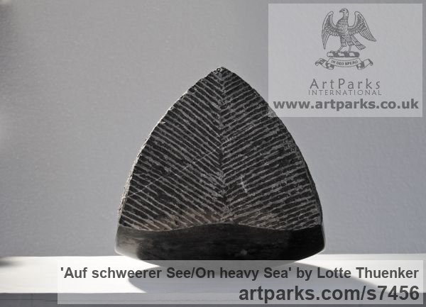 Limestone belgium petit granit Tabletop Desktop Small Indoor Statuettes Figurines sculpture by sculptor Lotte Thuenker titled: 'Auf schweerer See - On heavy Sea' - Artwork View 5