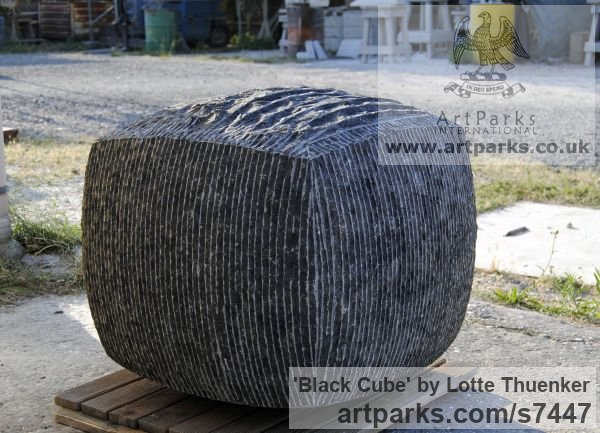 Limestone belgium petit granit Abstract Contemporary Modern Outdoor Outside Garden / Yard sculpture statuary sculpture by sculptor Lotte Thuenker titled: 'Black Cube (abstract Contemporary Rectangular Square stone statue)'