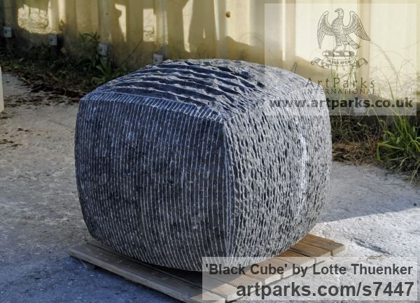 Limestone belgium petit granit Abstract Contemporary Modern Outdoor Outside Garden / Yard sculpture statuary sculpture by sculptor Lotte Thuenker titled: 'Black Cube (abstract Contemporary Rectangular Square stone statue)' - Artwork View 2