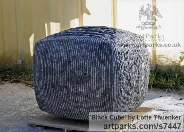 Limestone belgium petit granit Abstract Contemporary Modern Outdoor Outside Garden / Yard sculpture statuary sculpture by sculptor Lotte Thuenker titled: 'Black Cube (abstract Contemporary Rectangular Square stone statue)' - Artwork View 3
