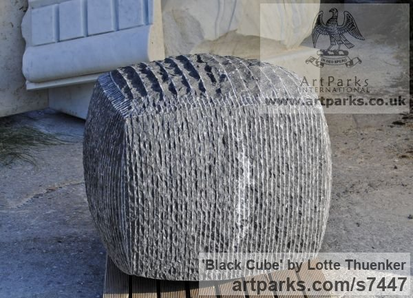 Limestone belgium petit granit Abstract Contemporary Modern Outdoor Outside Garden / Yard sculpture statuary sculpture by sculptor Lotte Thuenker titled: 'Black Cube (abstract Contemporary Rectangular Square stone statue)' - Artwork View 4