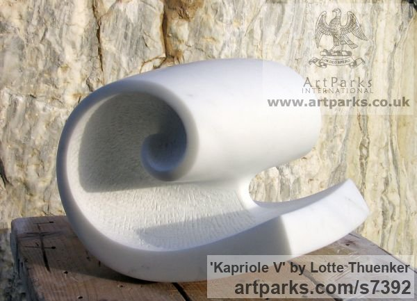 Carrara marble Small / Little Abstract Contemporary Sculptures / sculpture by sculptor Lotte Thuenker titled: 'Kapriole V (abstract Contemporary Modern Little Wave Indoor statues)'
