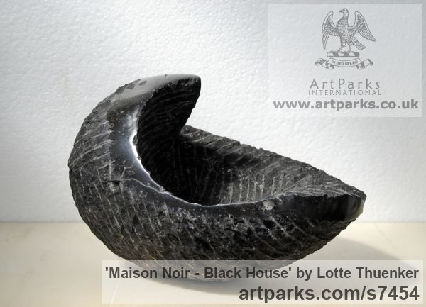 Limestone belgium petit granit Modern Abstract Contemporary Avant Garde Sculptures or Statues or statuettes or statuary sculpture by sculptor Lotte Thuenker titled: 'Maison Noir - Black House (abstract Contemporary Small sculpturette)'
