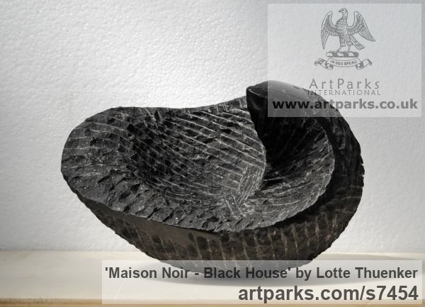 Limestone belgium petit granit Modern Abstract Contemporary Avant Garde Sculptures or Statues or statuettes or statuary sculpture by sculptor Lotte Thuenker titled: 'Maison Noir - Black House (abstract Contemporary Small sculpturette)' - Artwork View 3