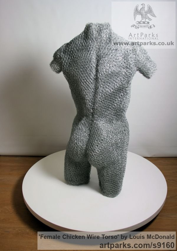 Galvinised chicken wire Females Women Girls Ladies sculpture statuettes figurines sculpture by sculptor Louis McDonald titled: 'female chicken wire torso (life size nude Girl statue)' - Artwork View 2