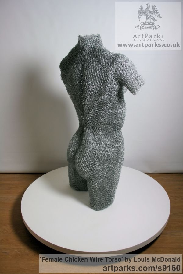 Galvinised chicken wire Females Women Girls Ladies sculpture statuettes figurines sculpture by sculptor Louis McDonald titled: 'female chicken wire torso (life size nude Girl statue)' - Artwork View 4