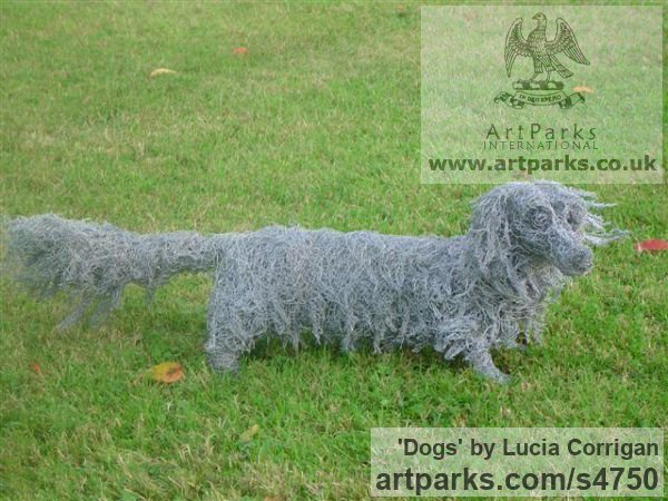 Wire mesh Garden Or Yard / Outside and Outdoor sculpture by sculptor Lucia Corrigan titled: 'Dogs (Chicken Wire Mesh Long Haired Dachshund life size statues)'