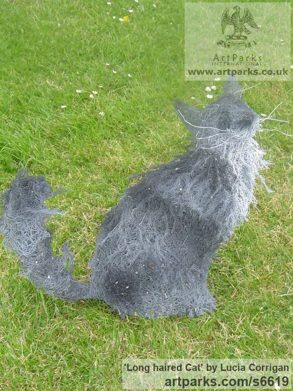 Wire Garden Or Yard / Outside and Outdoor sculpture by sculptor Lucia Corrigan titled: 'Long haired Cat (Wire Netting/Mesh life size Outdoor garden sculpture)'