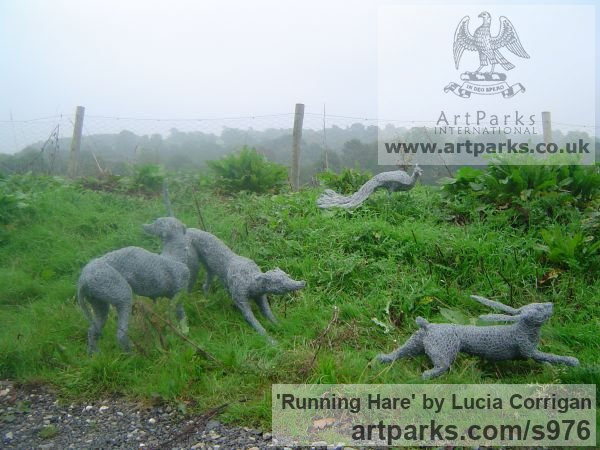 Metal Garden Or Yard / Outside and Outdoor sculpture by sculptor Lucia Corrigan titled: 'Running Hare (Metal Chicken Wire Netting Mesh Outdoor garden statues)'
