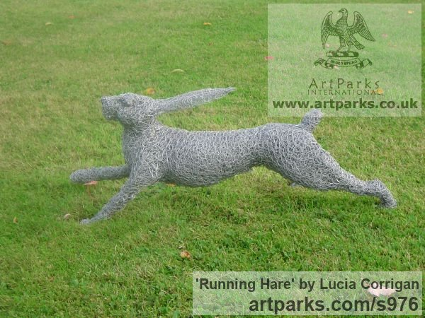 Metal Garden Or Yard / Outside and Outdoor sculpture by sculptor Lucia Corrigan titled: 'Running Hare (Metal Chicken Wire Netting Mesh Outdoor garden statues)' - Artwork View 4