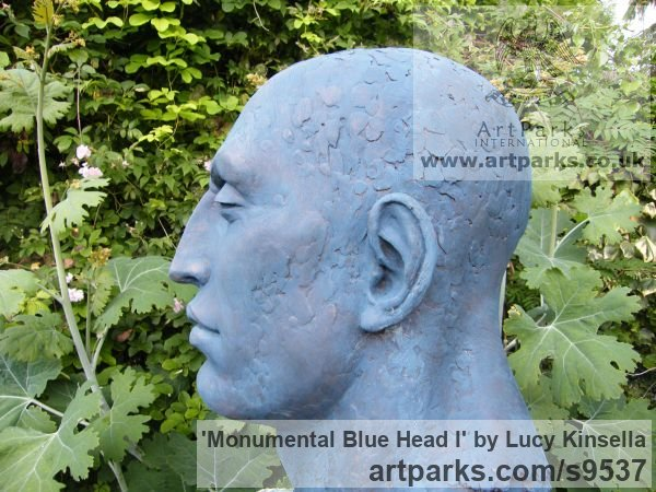 Bronze Resin Garden Or Yard / Outside and Outdoor sculpture by sculptor Lucy Kinsella titled: 'Monumental Blue Head (Oversize Big garden sculpture)'