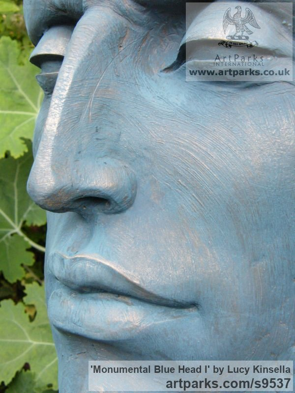 Bronze Resin Garden Or Yard / Outside and Outdoor sculpture by sculptor Lucy Kinsella titled: 'Monumental Blue Head (Oversize Big garden sculpture)' - Artwork View 2